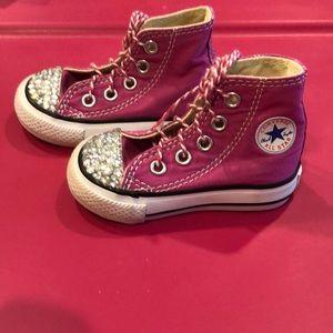 Pink Bejeweled Converse Hi-Top for Toddler Girl